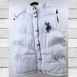 U.S. POLO ASSN White Winter Puffer Vest XL Fur